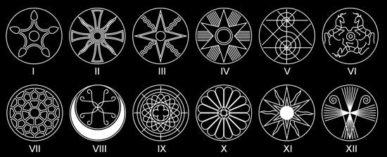 Знаки: Сириус, Венера, Алголь, Земля, Цефей, Сурья, Люцифер